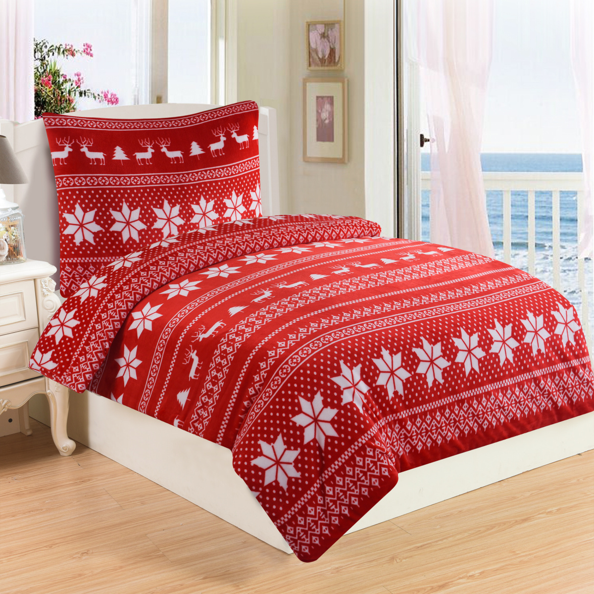 Jahu Povlečení mikroflanel Winter red 140x200, 70x90 cm