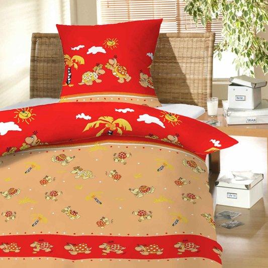 Povlečení bavlna do postýlky Želvy červené 90x130, 45x60 cm