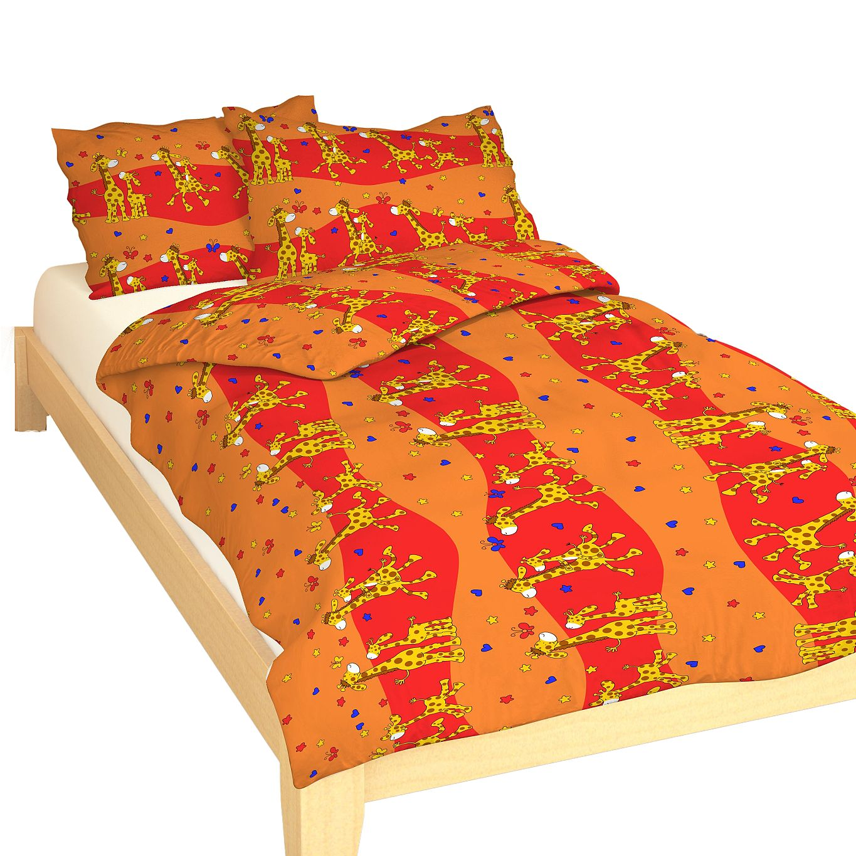 Povlečení bavlna do postýlky Žirafa červená 90x130, 45x60 cm