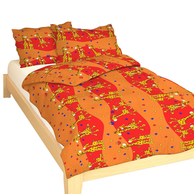 Povlečení krep do postýlky Žirafa červená 90x130, 45x60 cm