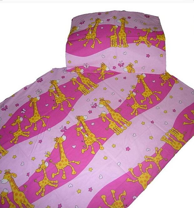 Povlečení krep - Žirafa růžová   1x 140/200, 1x 90/70