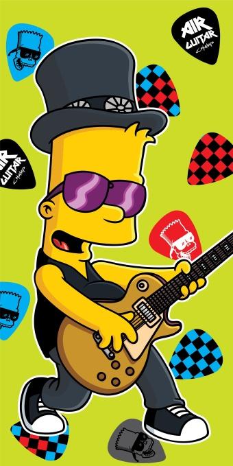 Plážová osuška Simpsons Bart guitar - 75 x 150 cm