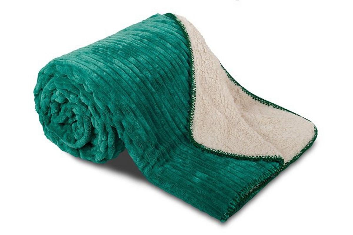 Deka mikrovlákno Ovečka manžestr smaragdová 150x200 cm
