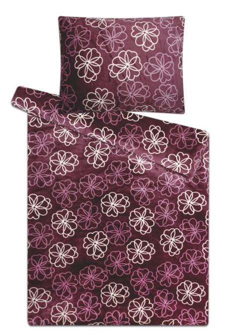 Povlečení mikroflanel Květiny fialové 140x200, 70x90 cm