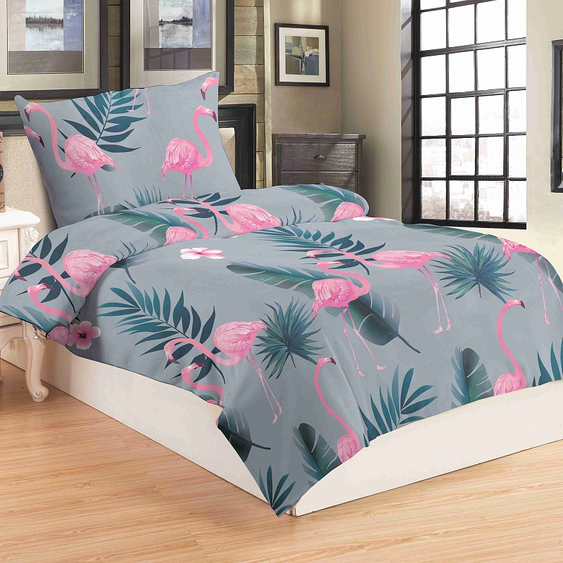 Povlečení mikroflanel Flamingo grey 140x200, 70x90 cm