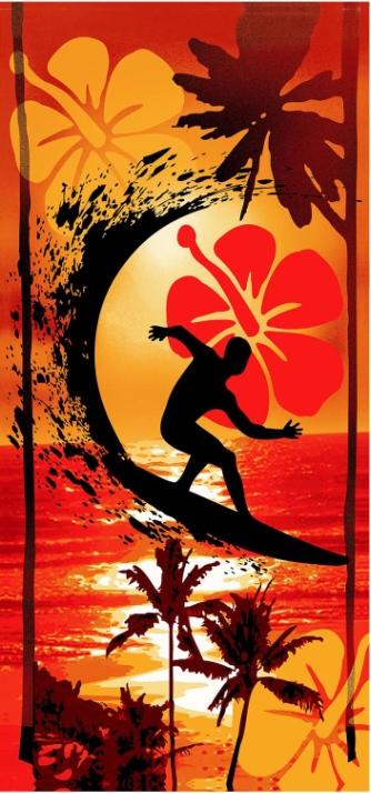 Plážová osuška Surfař 70x150 cm