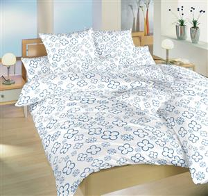 Povlečení bavlna Čtyřlístek denim na bílém 220x220 cm povlak