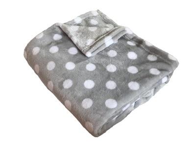 Super soft deka Dadka Puntík bílý/šedá 150x100 cm