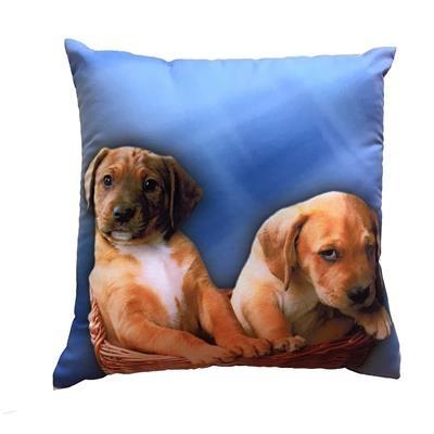 Fotopolštářek Dvě štěňata na modrém 40x40