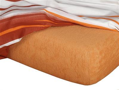 Froté prostěradlo karamel 90x200x15 cm