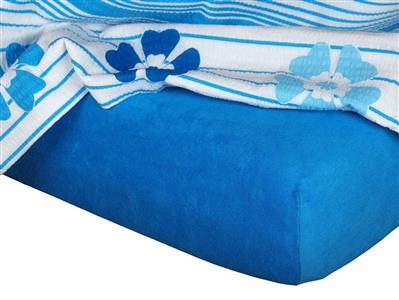 Froté prostěradlo modř královská 140x220x15 cm