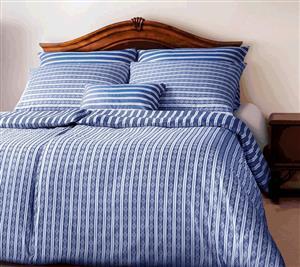 Povlečení Geon Granny modrobílé pruhy s jemně vytkaným vzorem 200x220, 2x70x90 cm