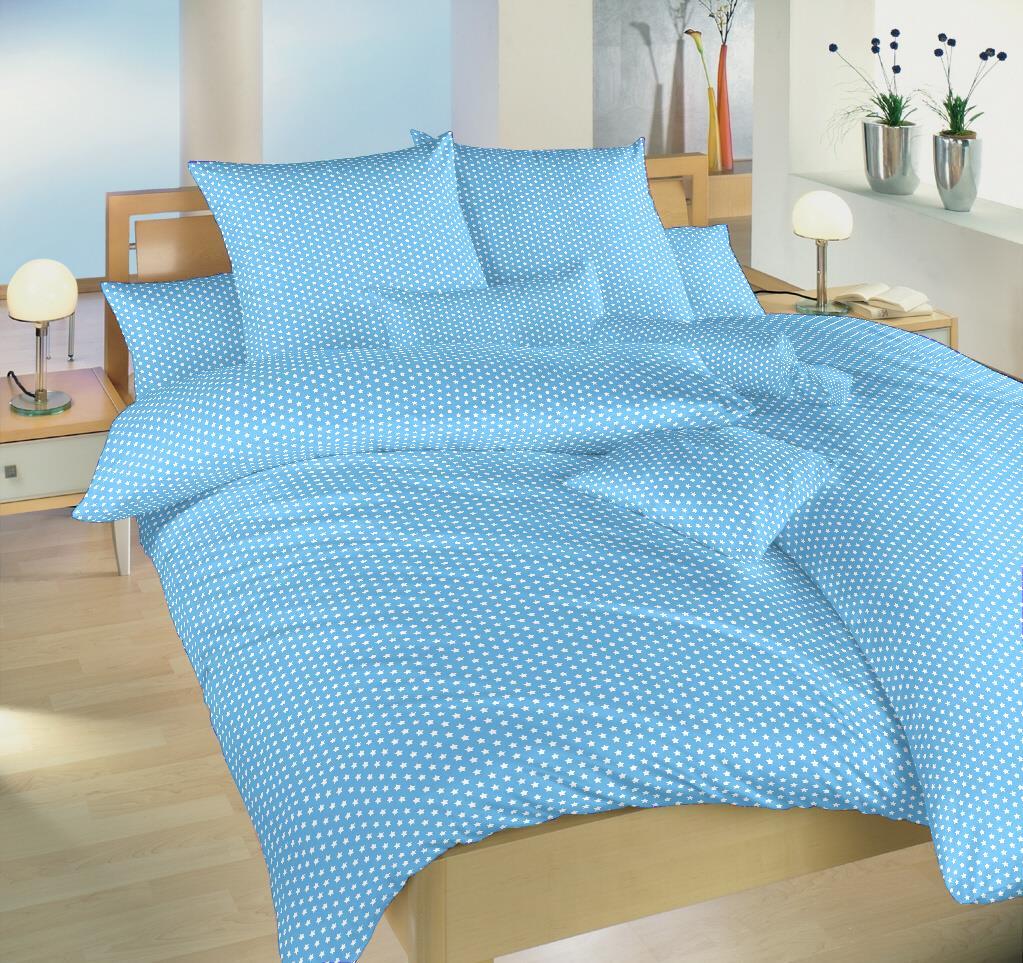 Povlečení bavlna Hvězdička bílá na světle modrém 140x200, 70x90 cm