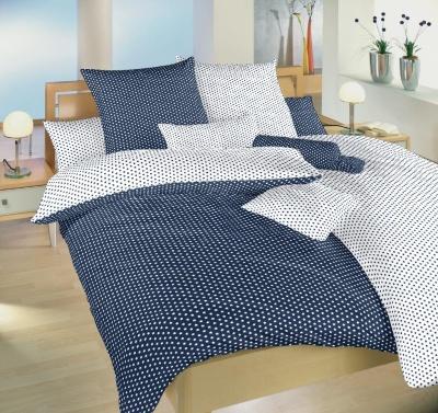 Povlečení bavlna Hvězdička bílá/tmavě modrá DUO 140x200, 70x90 cm