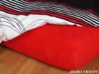 Jersey prostěradlo červená 90x220x18 cm