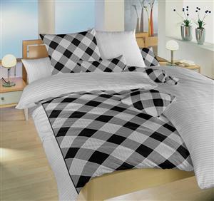 Povlečení bavlna Káro/Linea černá DUO 50x70 cm povlak