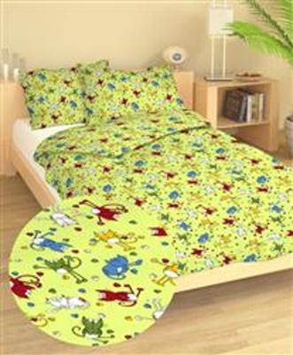 Povlečení bavlna do postýlky Kočky zelené 90x130, 45x60 cm