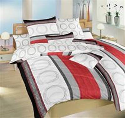 Povlečení bavlna Kružnice červené a kroužky 240x200 cm povlak