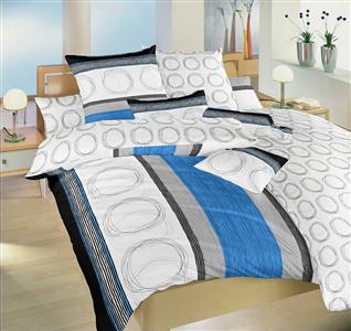 Povlečení bavlna Kružnice modré a kroužky 220x220 cm povlak