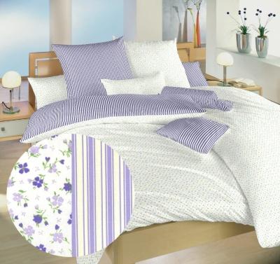Povlečení bavlna Květinky fialové/Proužky fialové 40x40 cm povlak
