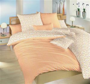 Povlečení bavlna Květinky oranžové/Proužky 140x200, 70x90 cm