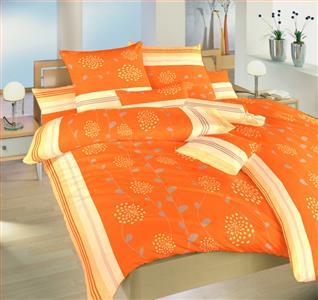 Krepové povlečení Liána oranžová 140x200, 70x90 cm II.jakost