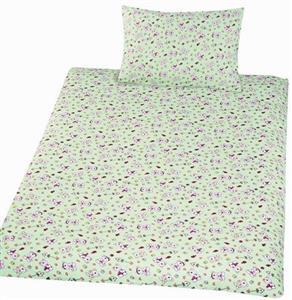 Povlečení bavlna do postýlky Méďa krmítko zelená 90x130, 45x60 cm