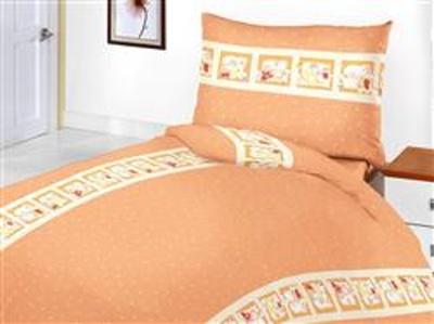 Povlečení bavlna do postýlky Medvědí pohádka oranžová 90x130, 45x60 cm