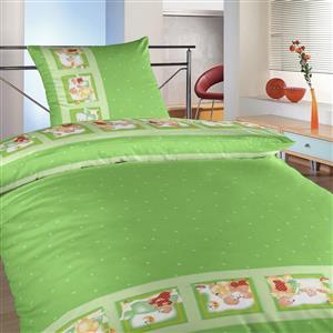 Povlečení krep do postýlky Medvědí pohádka zelená 90x130, 45x60 cm