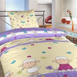 Povlečení bavlna Ovečky velké fialové 90x130, 45x60 cm II.jakost