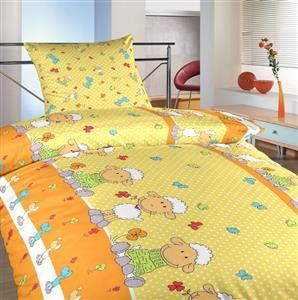 Povlečení bavlna Ovečky velké žluté 140x200, 70x90 cm