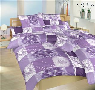 Povlečení bavlna Pampelišky 3D fialové 240x200, 2x70x90 cm