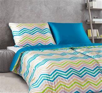 Povlečení satén Klikaté pruhy multicolor I.modrá 140x220, 70x90 cm