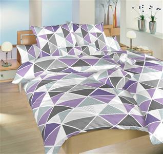 Krepové povlečení Pyramidy fialové 140x200, 70x90 cm II.jakost