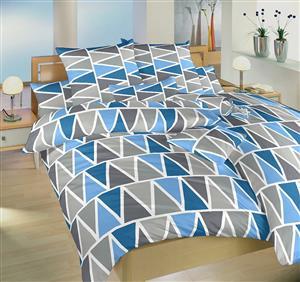 Povlečení bavlna Trojúhelníky modré 140x220, 70x90 cm II.jakost