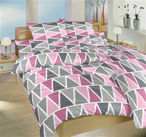 Povlečení bavlna Trojúhelníky růžové 140x200, 70x90 cm II.jakost