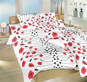Povlečení bavlna Vlčí máky červené 220x220 cm povlak