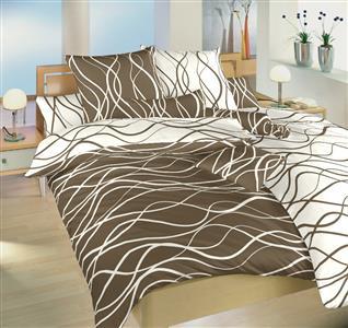 Povlečení bavlna Vlny banánové/hnědé DUO 220x220 cm povlak