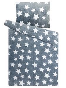 Povlečení mikroflanel Hvězdy šedé 140x200, 70x90 cm