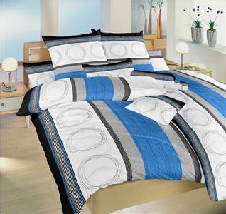 Povlečení bavlna Kružnice modré 240x200 cm