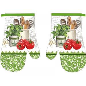 Kuchyňská chňapka 2 ks Zelená s rajčaty 18x27 cm
